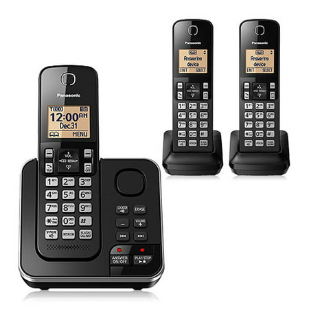 Panasonic KX-TG633SK 3 Handset Cordless Phone w/ Digital Answering System & DECT 6.0 Plus