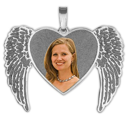 NEW Angel Heart Picture Pendant - 1-1/4 Inch X 1 Inch - Sterling Silver