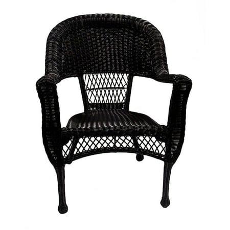 "37"" Black Resin Wicker Patio Dining Arm Chair - Walmart.com"