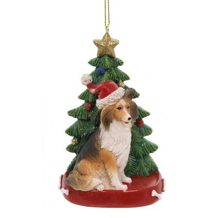 Holiday Ornaments DOG W/CHRISTMAS TREE Pet Puppy Best Friend C7615 Shetland ()