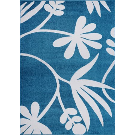 Ladole Rugs Botanical Style Simple and Creative Indoor Area Rug Carpet in Blue and Cream, 4x6 (3'11