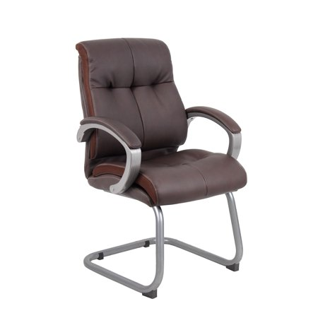 Boss Office Products Bomber Brown Double Plush Executive Guest Reception Waiting Room Chair