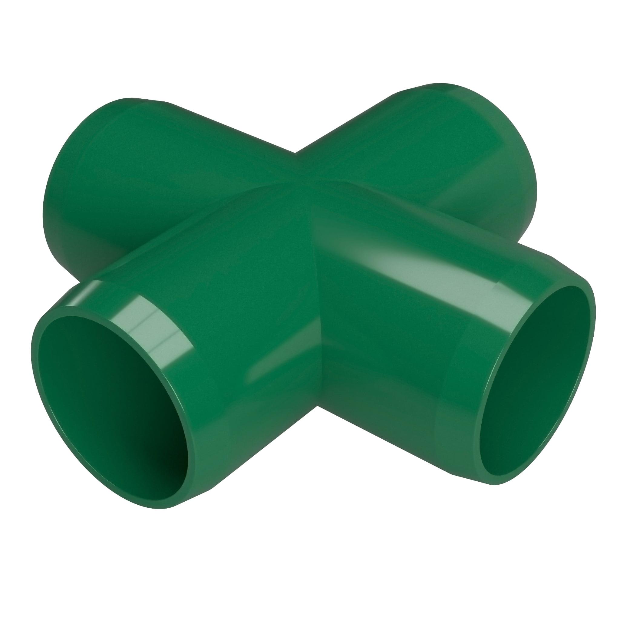 "FORMUFIT F114CRX-GR-4 Cross PVC Fitting, Furniture Grade, 1-1/4"" Size, Green , 4-Pack"