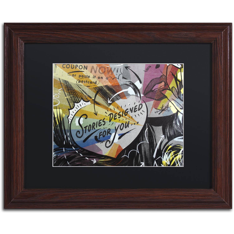 "Trademark Fine Art ""Coupon Stories"" Canvas Art by Dan Monteavaro Black Matte, Wood Frame"