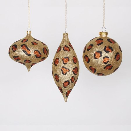 set of 3 diva safari glitzy cheetah gold copper and black christmas ornaments 7 - Black And Gold Christmas Ornaments