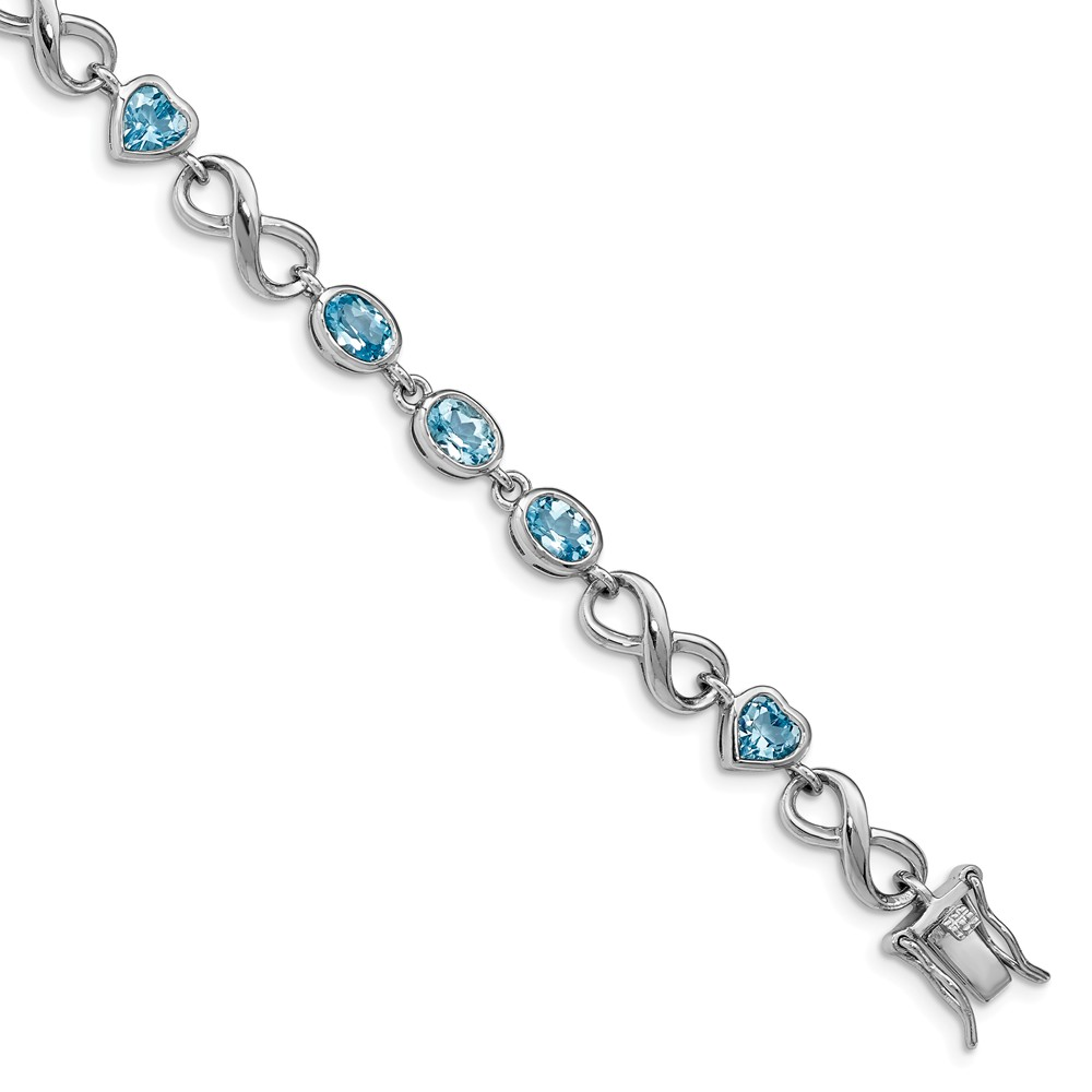 """925 Sterling Silver Oval Heart Blue Simulated Topaz Bracelet -7.75"""" (7in x 7mm) by"""
