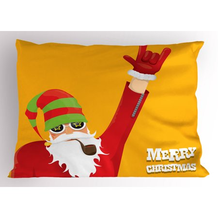 Indie Pillow Sham Biker Santa Claus Smoking Pipe Hand Gesture Party Christmas Cartoon, Decorative Standard Queen Size Printed Pillowcase, 30 X 20 Inches, Marigold Pistachio Green Red, by Ambesonne - Cartoon Hands