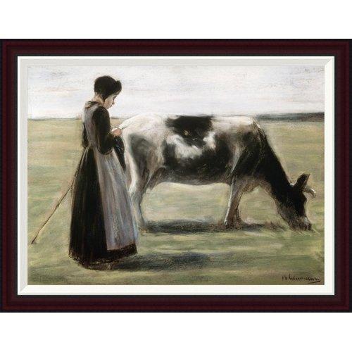 Global Gallery Das Madchen Mit Der Kuh by Max Liebermann Framed Painting Print