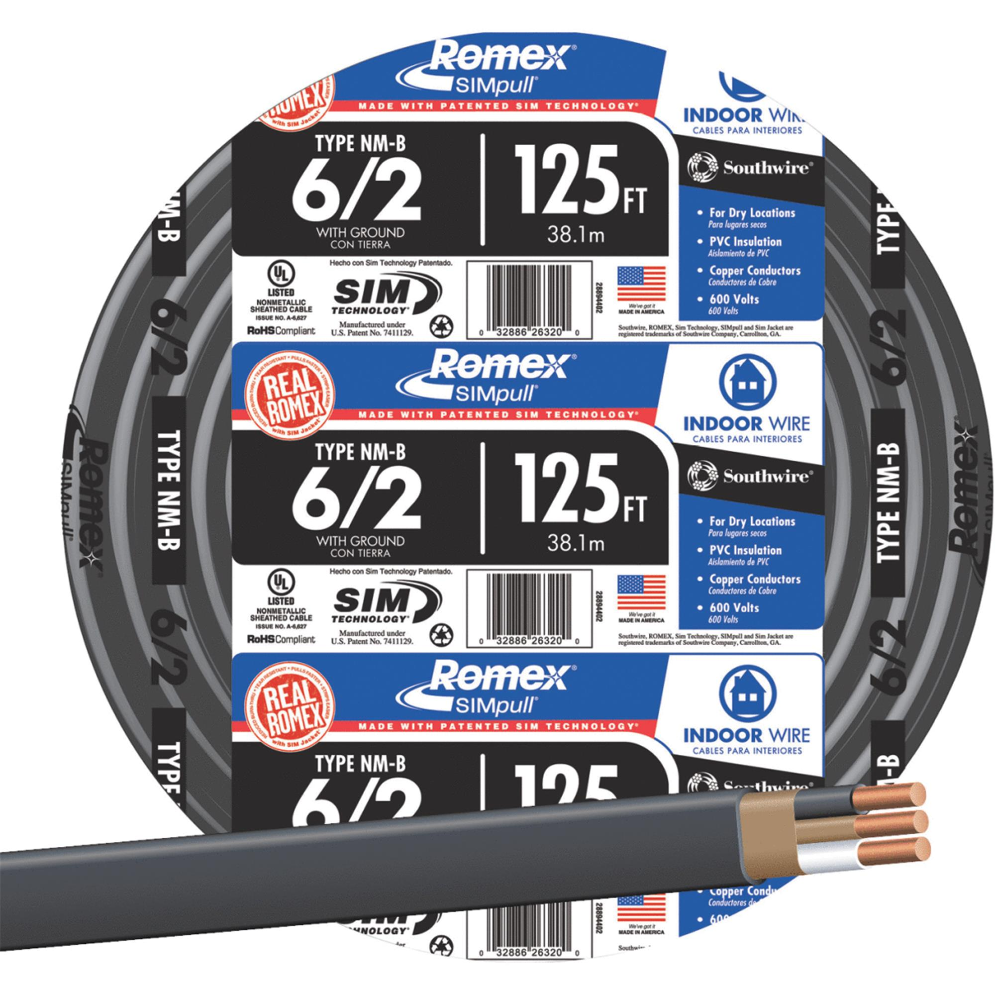 Southwire Romex 6-2 NMW/G Wire