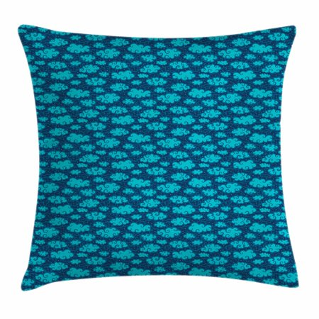 Snowflake Pals - Clouds Throw Pillow Cushion Cover, Stylized Pattern of Dreamy and Curvy Clouds with Snowflake, Decorative Square Accent Pillow Case, 18 X 18 Inches, Pale Blue Petrol Blue and Night Blue, by Ambesonne