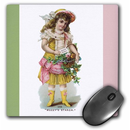 3dRose Muzzys Starch Young Girl with a Basket of Flowers in Victorian Dress, Mouse Pad, 8 by 8 inches Dress Basket