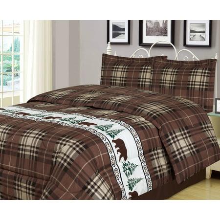 Plaid Bear Twin Comforter 2 Piece Bedding Set Rustic Cabin Lodge Wildlife