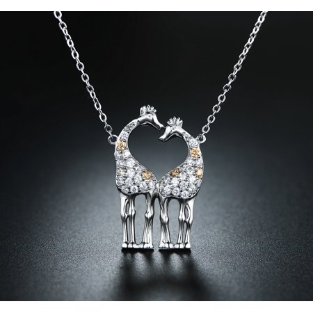 - Rhodium Plated & Crystal Giraffe Couple Necklace Made with Swarovski Elements