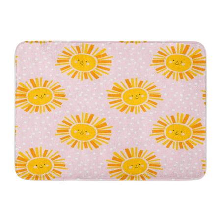 NUDECOR Cute Sun Pattern Girl Sky Vector Seamless Background in Yellow Doormat Floor Rug Bath Mat 23.6x15.7 inch - image 1 de 1