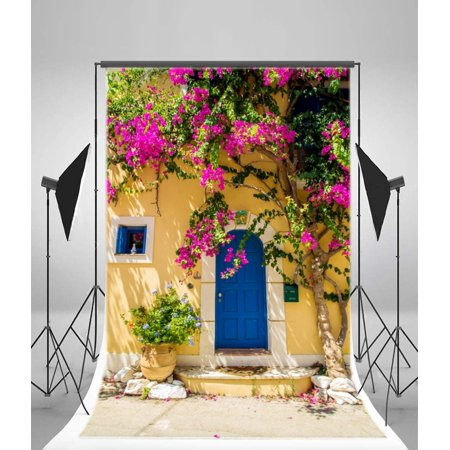 HelloDecor Polyster Blooming Flowers Backdrop 5x7ft Photography Backdrop Outdoor Arch House Stones Spring PO Box Window Photos Video Props Children Newborn Baby Kids (Best Flowers For Window Boxes Spring And Summer)