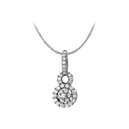 Cubic Zirconia Circle Pendant In Sterling Silver With Great Price Perfect April Birthstone Gift