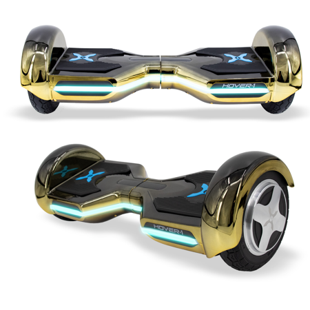 Hover-1 Eclipse Hoverboard w/ 8 in Wheels, Ultrabright Customizable LED Headlights, Built-In Bluetooth Speaker, 4-Hour Charge Time, 7 MPH Max Speed - Black and Gold