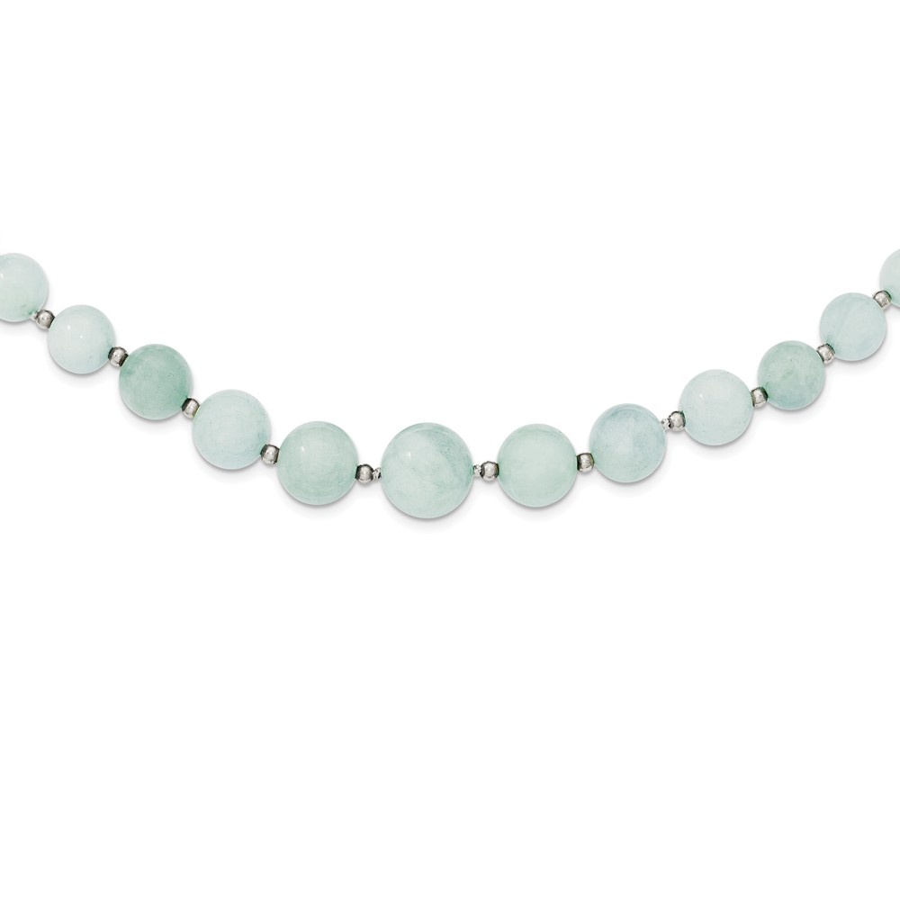 Sterling Silver Pearl clasp Beaded and 6-14mm Graduated Aquamarine Necklace 18 Inch by