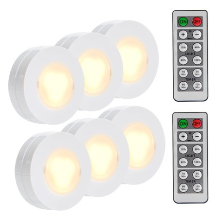 Wireless LED Puck Lights, Closet Lights Battery Operated with Remote Controll, Kitchen Under Cabinet LED Lighting Wireless - 6 Pack - Led Batteries