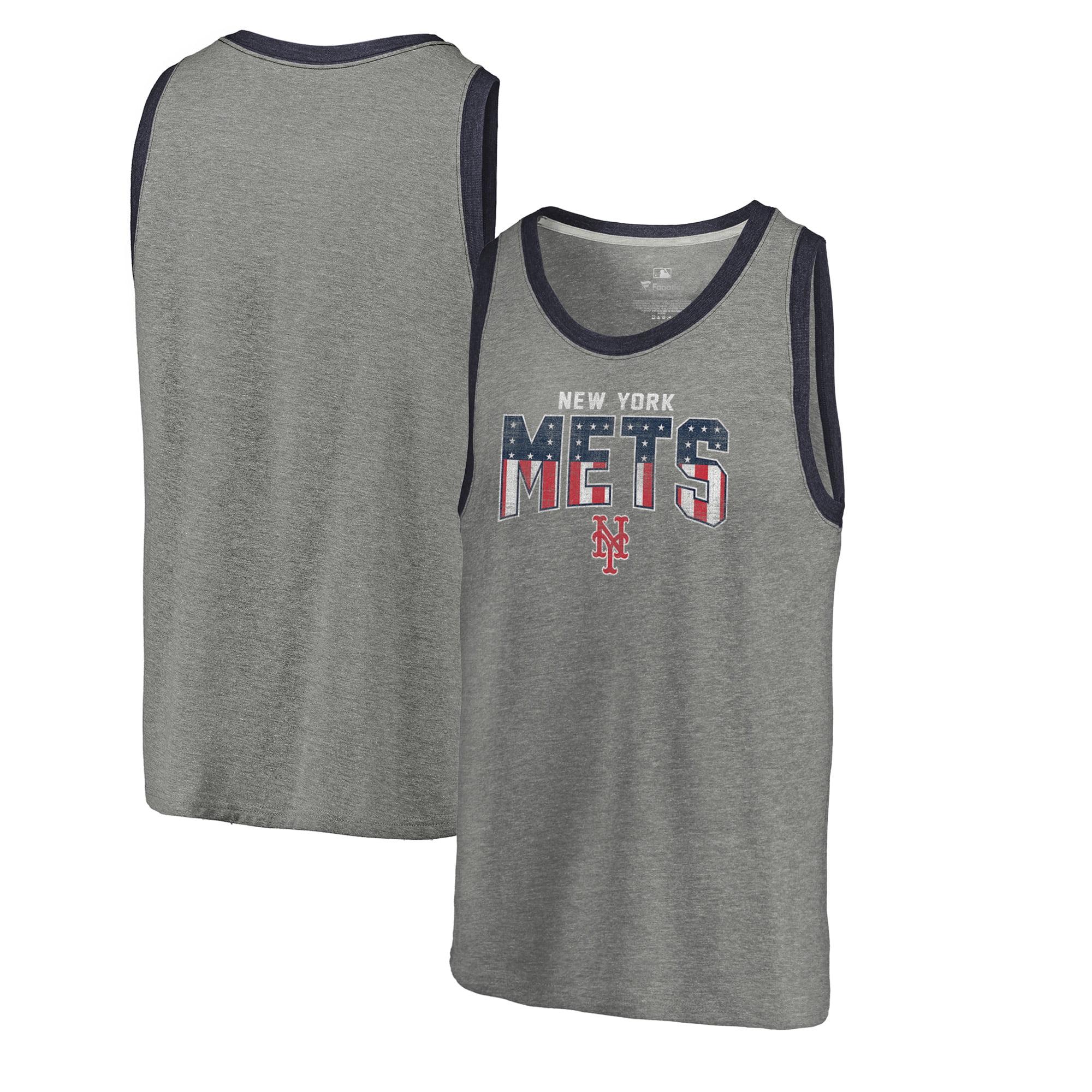 New York Mets Fanatics Branded Freedom Tri-Blend Tank Top - Heathered Gray
