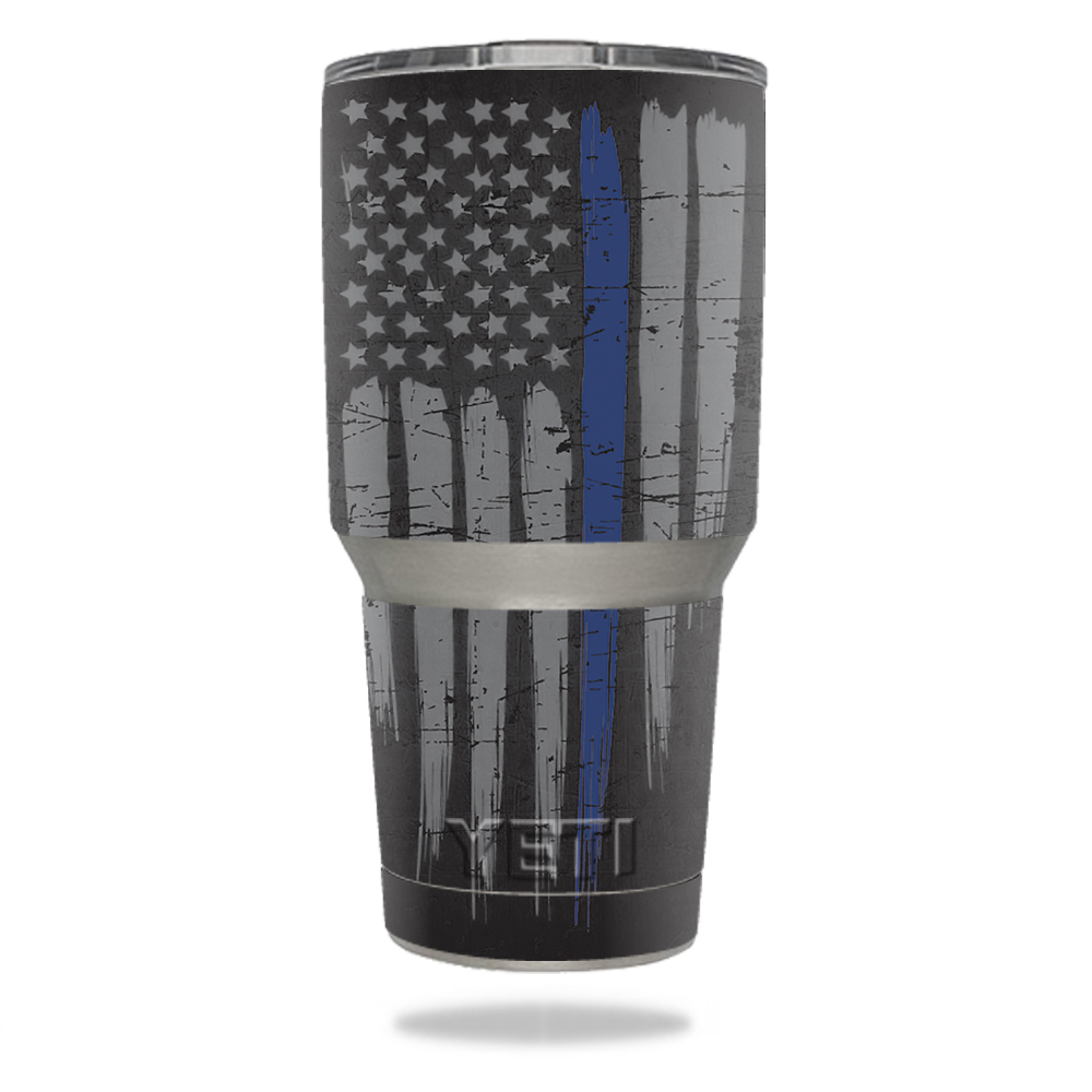 MightySkins Protective Vinyl Skin Decal for YETI 30 oz Rambler Tumbler wrap cover sticker skins Thin Blue Line