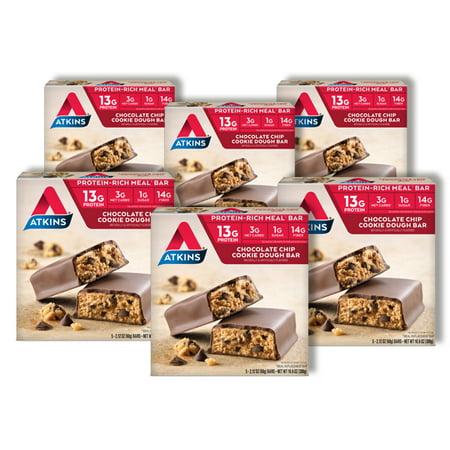 - Atkins Chocolate Chip Cookie Dough Bar, 2.1oz, 30 Ct (Meal Replacement)