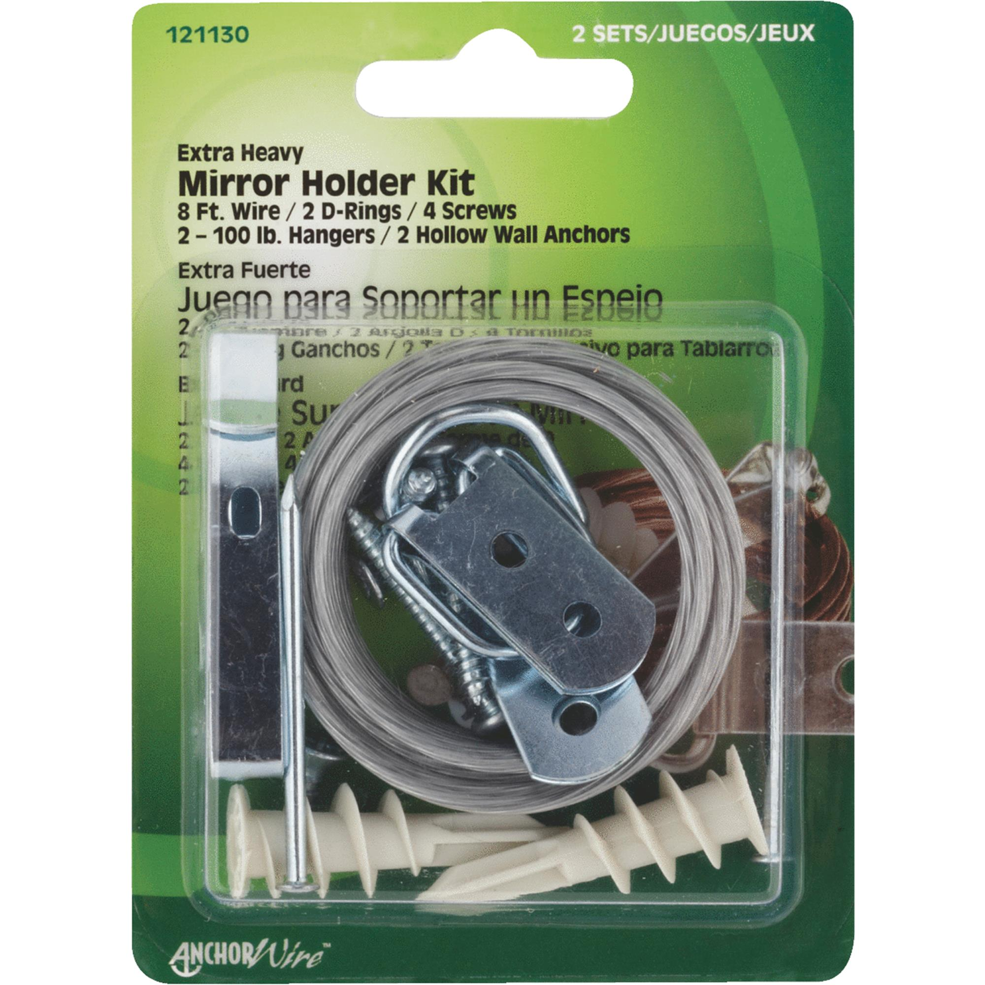 Heavy duty mirror and picture hanger kit