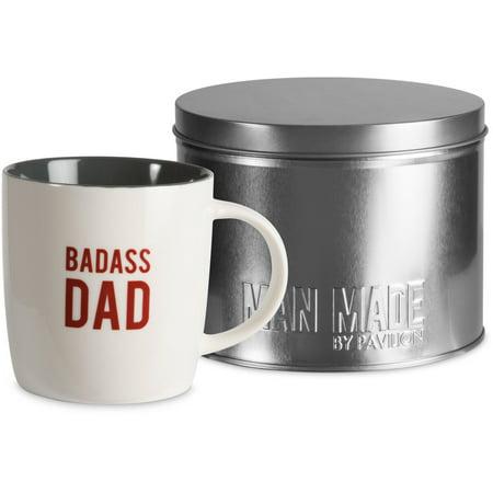 Pavilion - Badass Dad 12oz Coffee Cup Mug & Tin Gift Set - Custom Tin Mugs