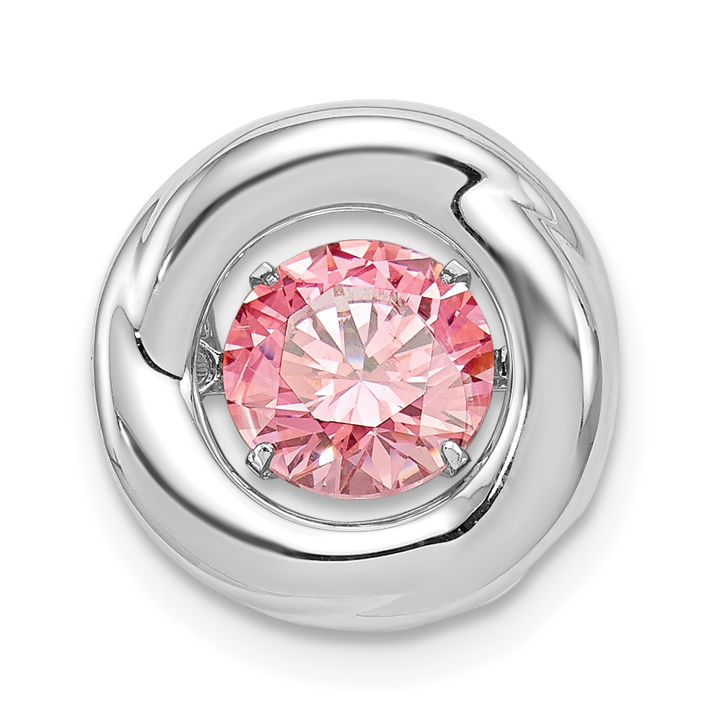 Roy Rose Jewelry Sterling Silver Platinum-plated Polished Vibrant Pink Cubic Zirconia Circle Pendant by