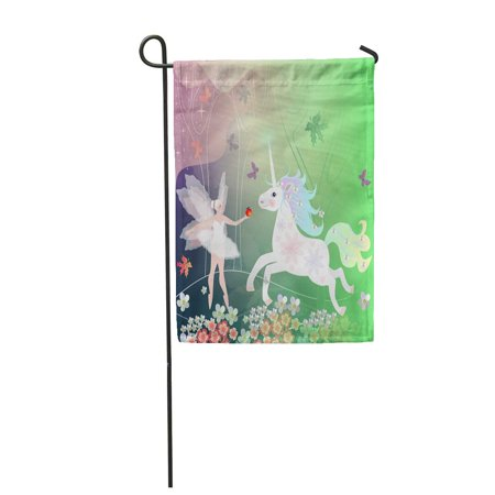 LADDKE Summer Magic Forest with Trees Flowers and Butterflies Where Live Fairy Creature Garden Flag Decorative Flag House Banner 12x18 inch (Butterflies And Fairies)
