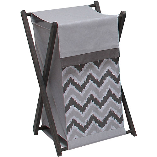 Bacati Ikat Hamper with Cotton Percale cover, mesh liner and Natural Color Wooden frame, Zigzag Grey by Bacati