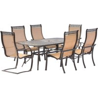 Hanover Manor 7-Piece Outdoor Dining Set with 4 Stationary Chairs and 2 C-Spring Chairs
