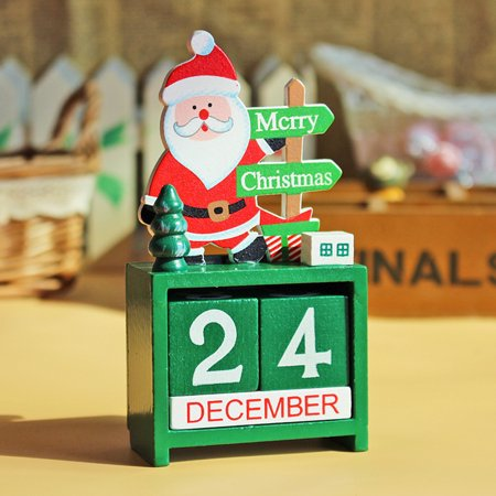 Christmas Wooden Calendar Advent Countdown with Painted Blocks Holiday Home Ornament Decorations;Christmas Wooden Calendar Advent Countdown with Painted Blocks Ornament ()