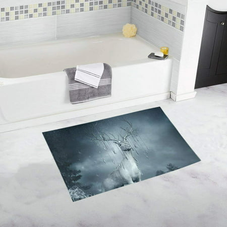 RYLABLUE Magic Deer Frozen Grass And Ice Doormat Non Slip Bathroom/Floor Mats Bath Rug 30x18 inches - image 1 of 1