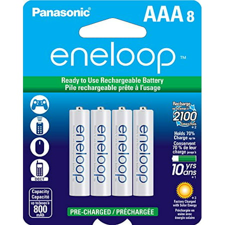 Eneloop Aaa Batteries - Panasonic BK-4MCCA8BA Eneloop AAA 2100 Cycle Ni-MH Pre-Charged Rechargeable Batteries (Pack of 8)