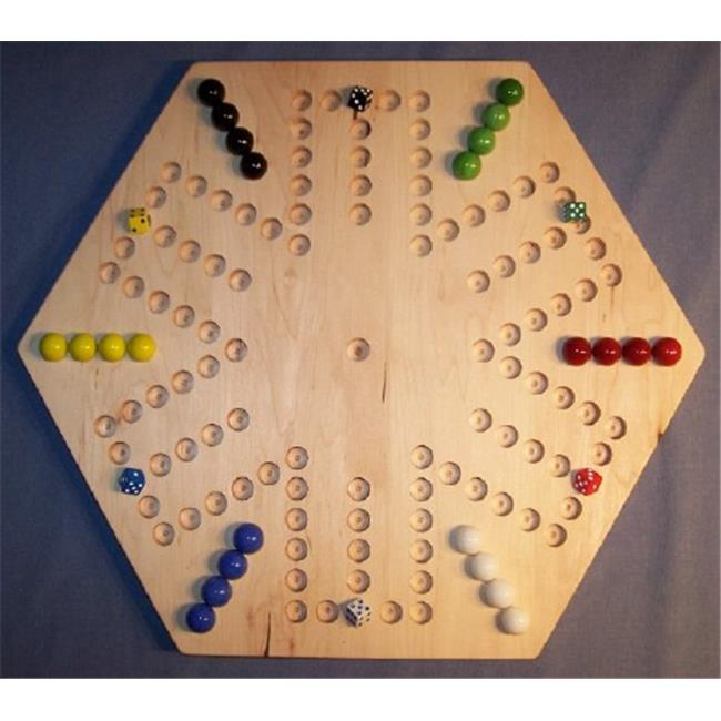 THE PUZZLE-MAN TOYS W-1937 Wooden Marble Game Board - Aggravation - 20 in. Hexagon - 6-Player  6-Hole - Hard Maple