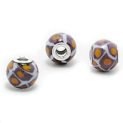 Cheneya Glass Bead in Lavender, White and Peach - Compatible with Pandora, Chamilia, Troll
