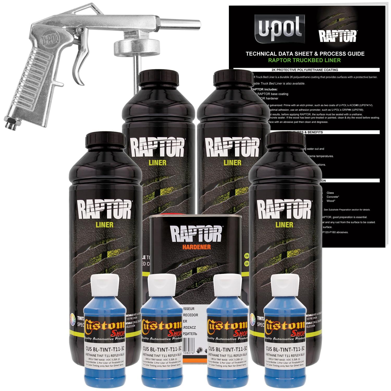 Raptor Reflex Blue Urethane Spray-On Truck Bed Liner Spray Gun,4 Liters