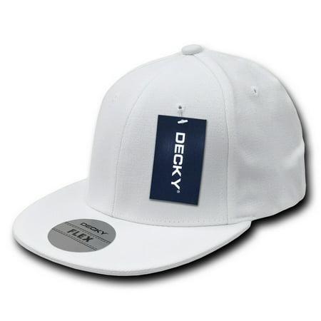 decky 872-pl-wht-06 acrylic flat bill flex caps, white - small & medium