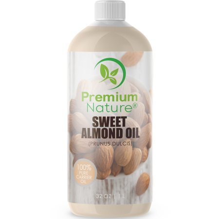 Sweet Almond Oil Best Carrier Oil - 32 oz 100% Natural Pure for Skin & Hair - Cleansing Properties Evens Skin Tone Treats Irritated Skin Nourishes Moisturizes & Prevents Aging Premium (Best Facial Toning System)