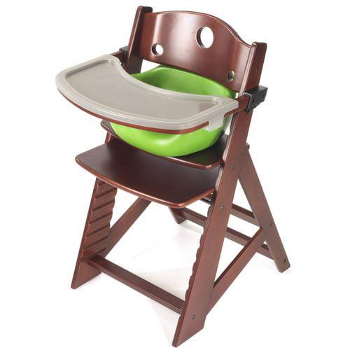 Keekaroo Height Right High Chair w/ Insert & Tray - Mahogany - Lime