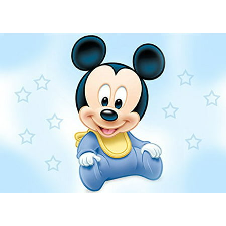 Baby Mickey Mouse Shower Edible Cake Topper Frosting 1/4 Sheet Birthday Party - Mickey Mouse Birthday Cake Pan