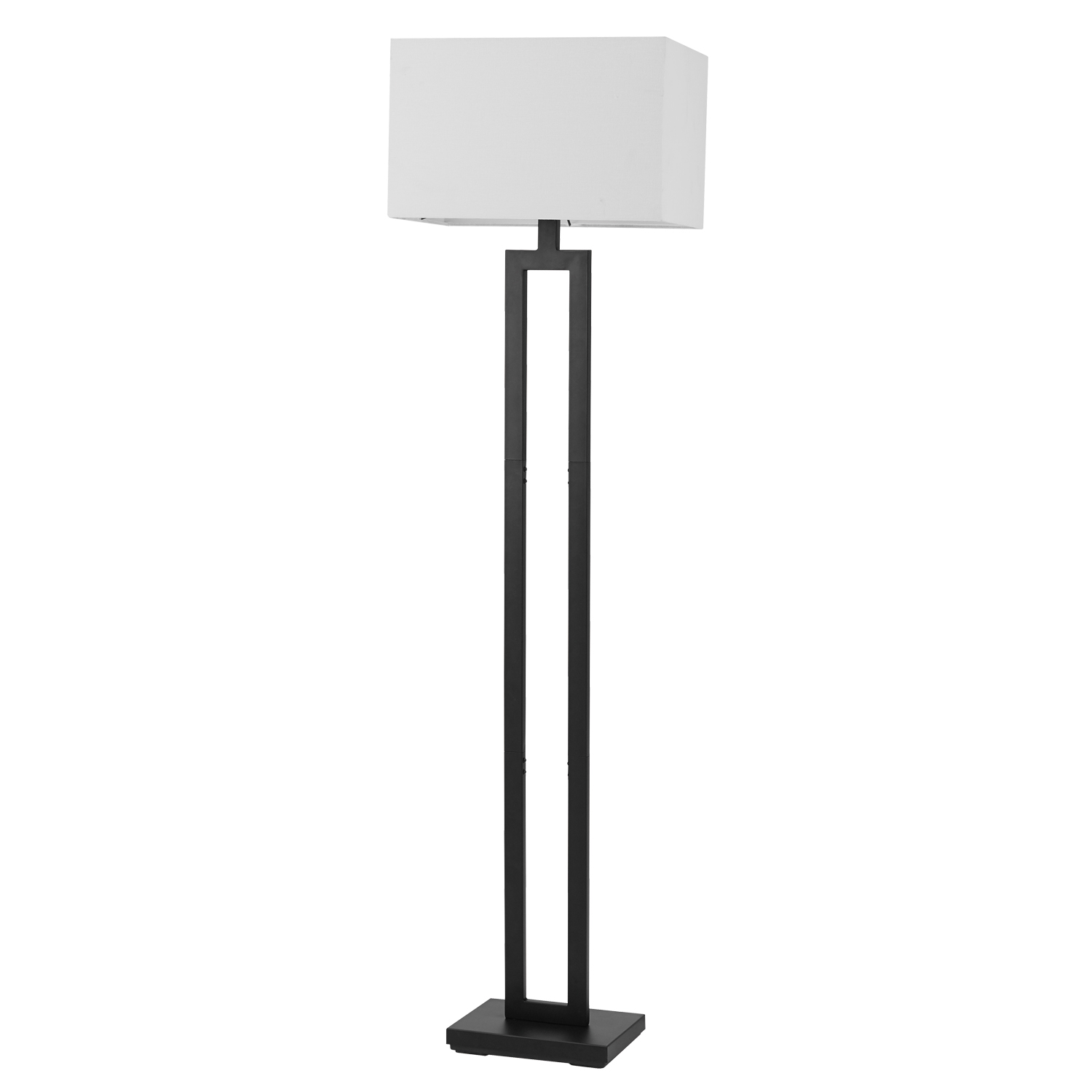 """Globe Electric D'Alessio 58"""" Matte Black Floor Lamp with White Linen Shade, 67046"""