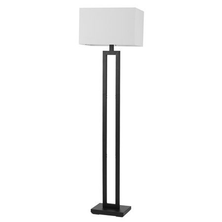 Globe Electric DAlessio 58u0022 Matte Black Floor Lamp with White Linen Shade, 67046