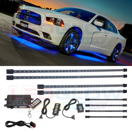 Ledglow 4pc Blue Wireless Led Underbody Underglow Interior Lighting Light Kit