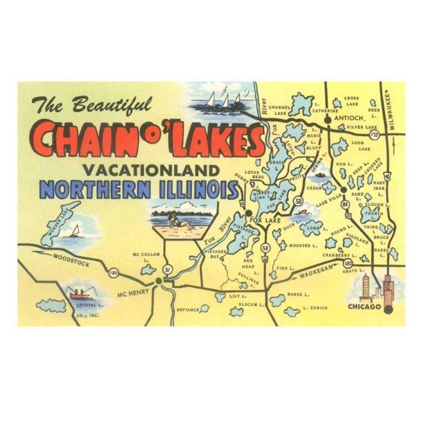 chain o lakes map Map Of Chain O Lakes Illinois Print Wall Art Walmart Com chain o lakes map