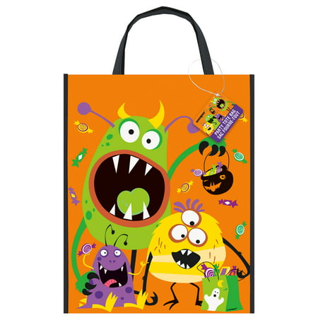 Large Plastic Silly Monsters Halloween Goodie Bag, 15 x 12 in, - Halloween Party Ideas 15 Year Olds