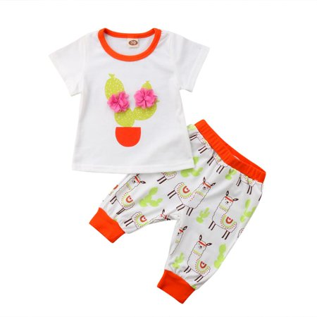 Infant Baby Girl Boy Grass Mud Horse Alpaca Outfit T Shirt Top Pants Clothes Set
