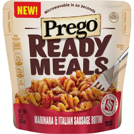 Six Pack Meals (Prego Ready Meals, Marinara & Italian Sausage Rotini, 9 Ounce (Pack of 6) (Packaging May Vary))