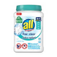 all Mighty Pacs Laundry Detergent, Free Clear Odor Relief, Tub, 56 Count